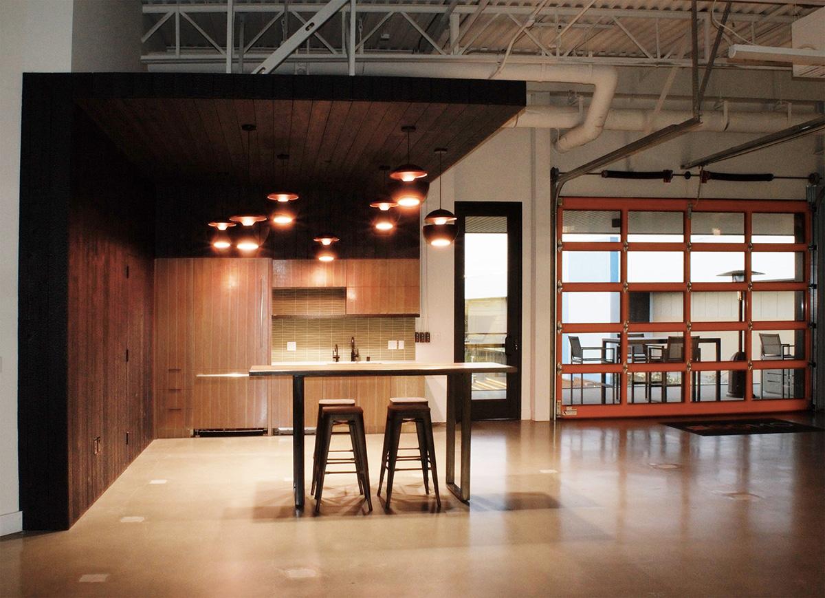 2 Kitchen and view through garage door sky lounge